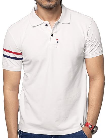 a81224d74771 ZEYO Men's Cotton Plain Half Sleeve Polo T-Shirt (White, Small-38 ...