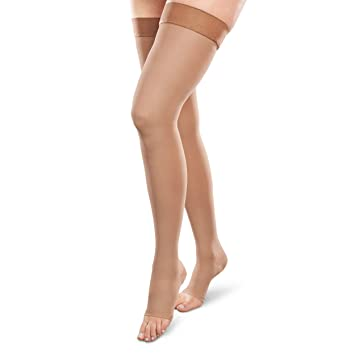 9831fb985 Image Unavailable. Image not available for. Color  Therafirm Opaque Open-Toe  Thigh Highs - 15-20mmHg Mild ...