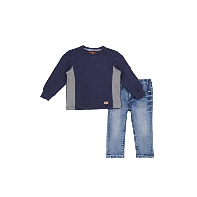 7 For All Mankind Boy's Long Sleeve Crewneck Sweatshirt 5 Pocket Jeans 2 Piece Set