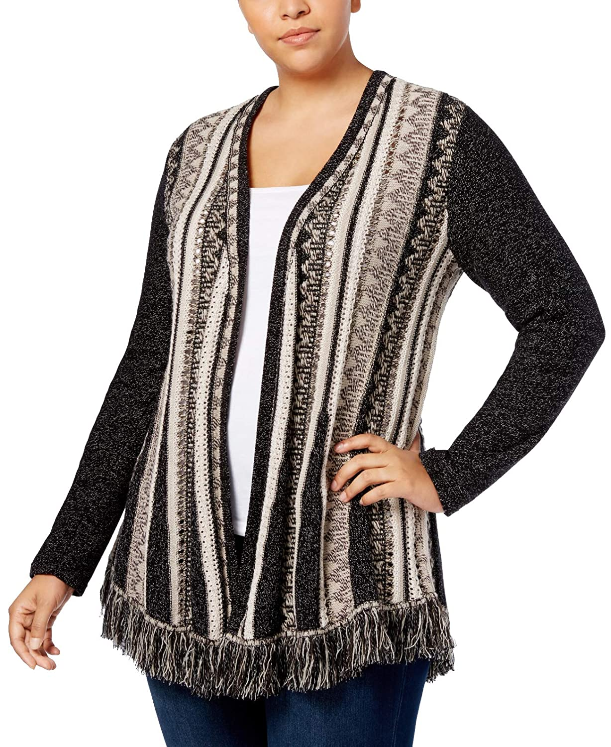 Style /& Co Plus Printed Fringed Open-Front Cardigan Beige
