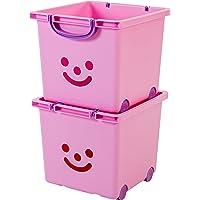 Iris Ohyama, set - 2 grandes boîtes de rangement pour jouet sur roulette - Smiley Kids Boxes - KCB-32, violet de parme, 25 L, 32 x 33 x 29 cm