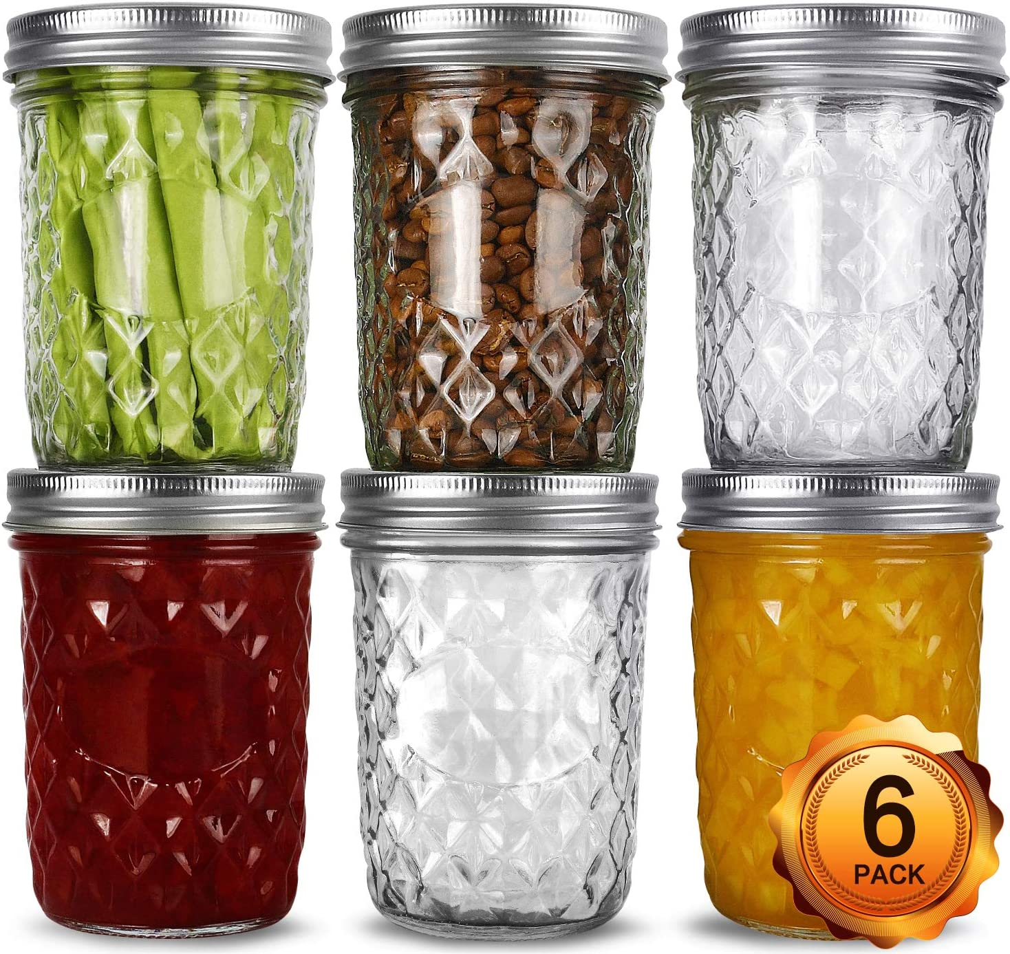Wide Mouth Mason Jars 16oz, VERONES 6 Pack 16 oz Wide Mouth Mason Jars with Lids and Bands, Ideal for Jam, Honey, Wedding Favors, Shower Favors, Baby Foods
