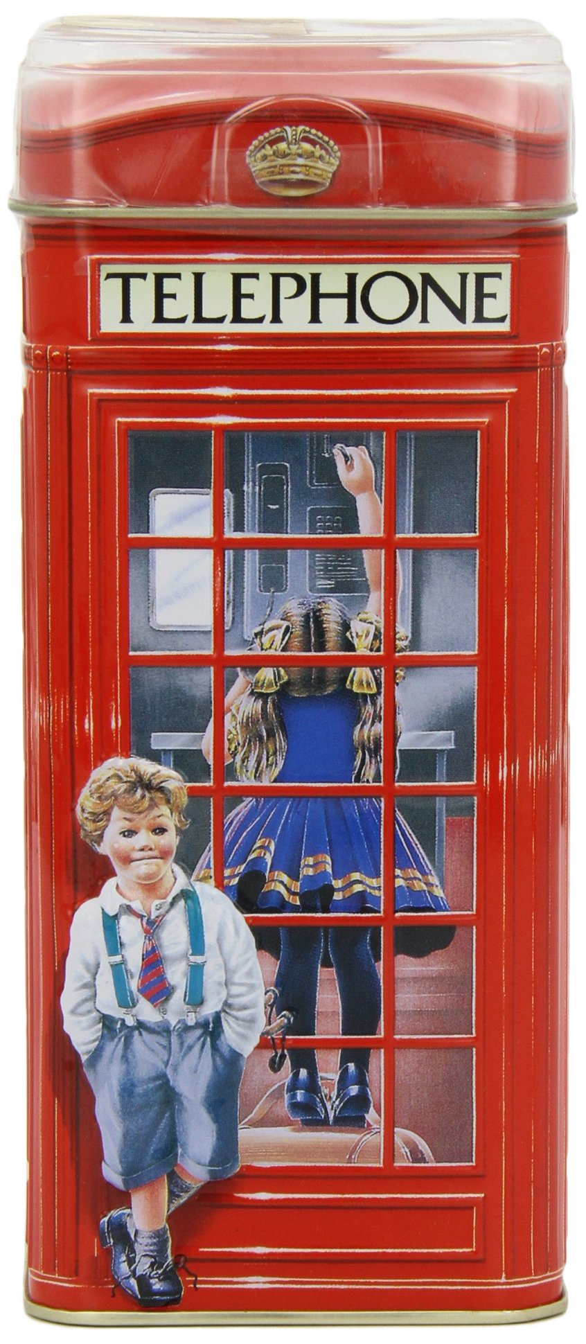 Collectible British Telephone Kiosk Money Box/Bank with 200g English Cream Dairy Toffee