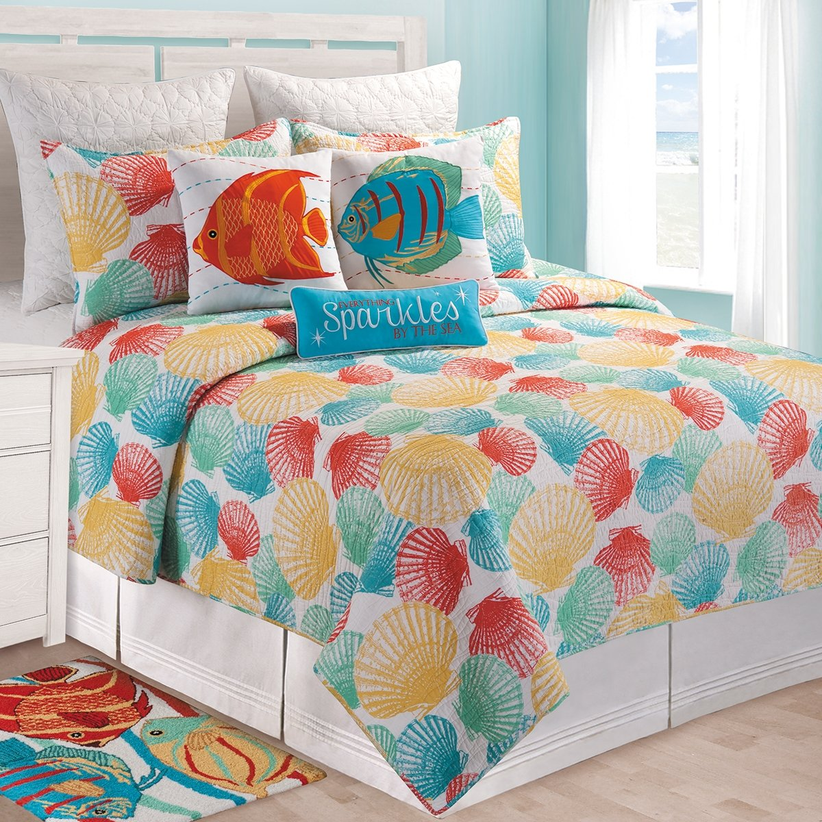 C&F Home 82088.8686 Captiva Island for Q Quilt, Full/Queen, Blue