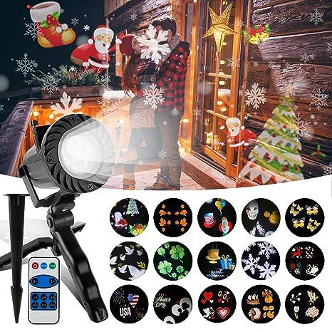 Wilktop Luces de Navidad Proyector, IP65 a Prueba de Agua LED Proyector Efecto de Luz de Navidad con 15 Patrones Intercambiables para uso en ...