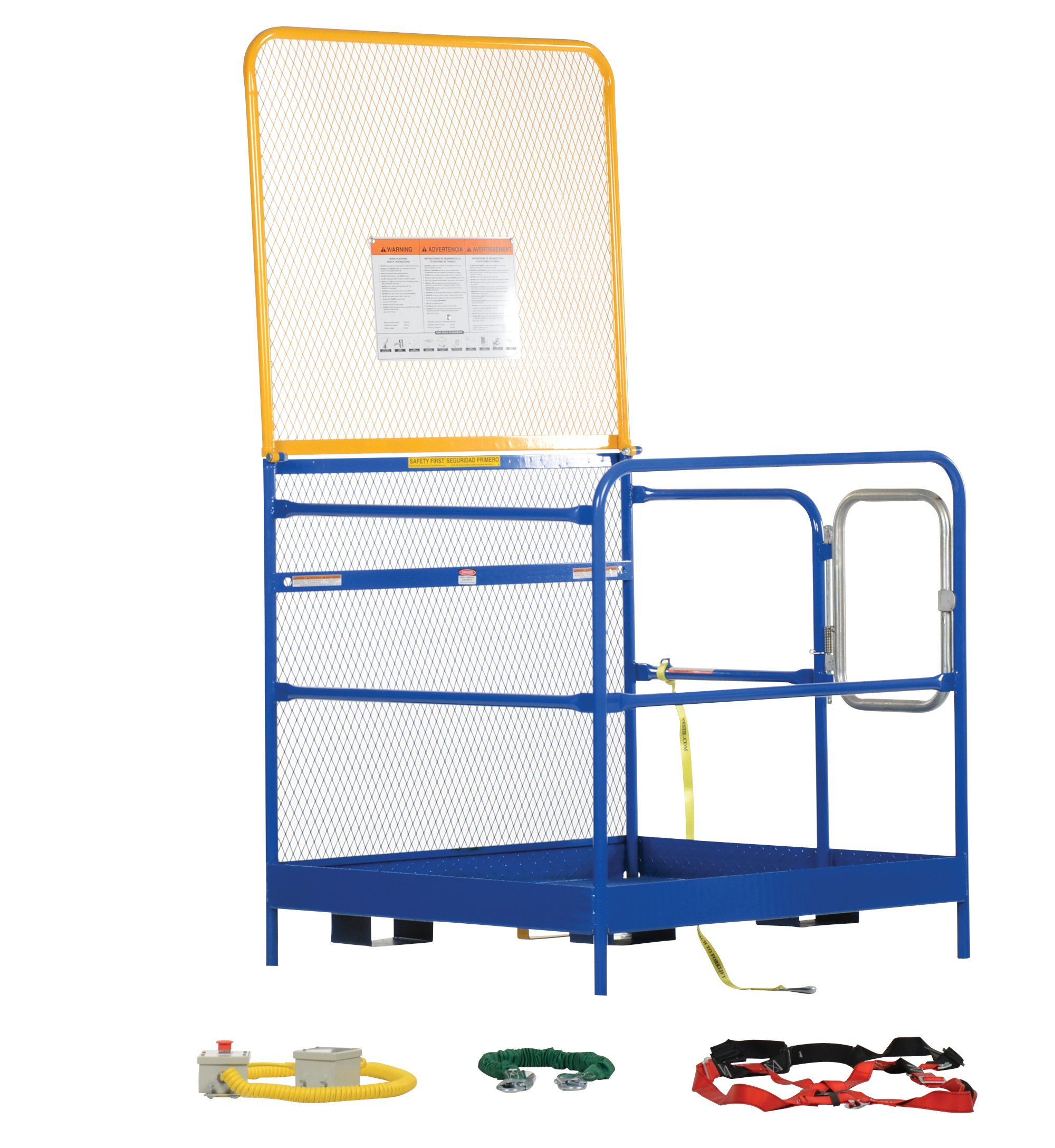Vestil WP-4848-84B-FF Steel Work Platform, Emergency Stop Button Kit and Web Lanyard with Safety Harness, 48'' x 48'' with 84'' Back, Powder Coat Blue