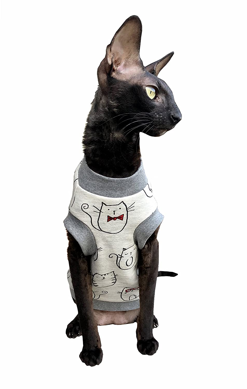 Kotomoda Katzen Kleidung T-Shirt Weiss Krawatte Tie Katze