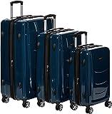AmazonBasics - Set di trolley rigidi con rotelle girevoli, Set da 3 pezzi (55 cm, 68 cm, 78 cm), Blu Marino