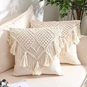 Buycrafty Throw Pillow Covers, Macrame Cushion Case, Woven Boho for Bed Sofa Couch Bench Car Home Decor, Comfy Square Pillow Cases with Tassels, Set of 2 Decorative Pillowcase (18X18 inch, Cream)