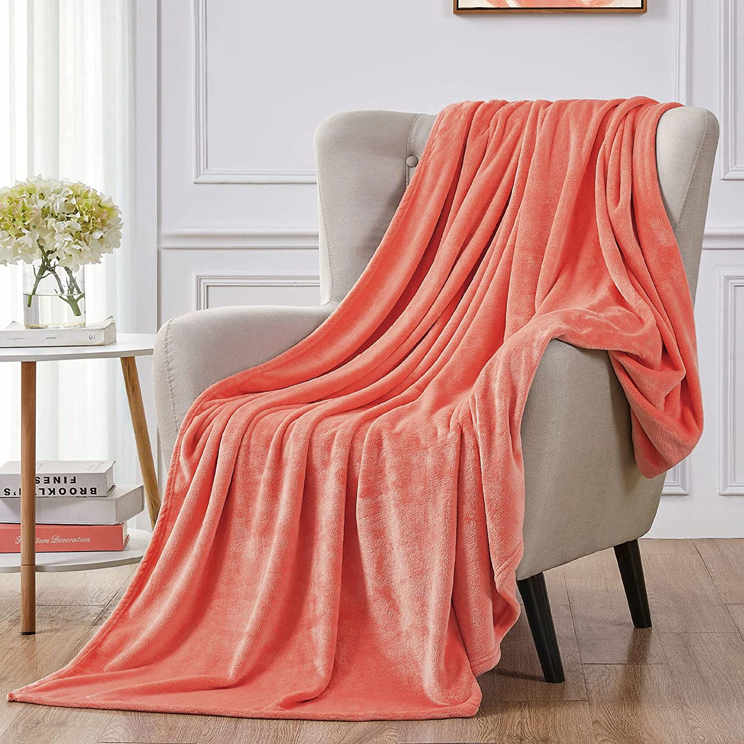 """Walensee Fleece Blanket Plush Throw Fuzzy Lightweight (Throw Size 50""""x60"""" Coral) Super Soft Microfiber Flannel Blankets for Couch, Bed, Sofa Ultra Luxurious Warm and Cozy for All Seasons"""
