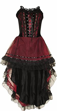 Amazon Com Gothic Prom Dress Black Maroon Halloween Wedding Dress
