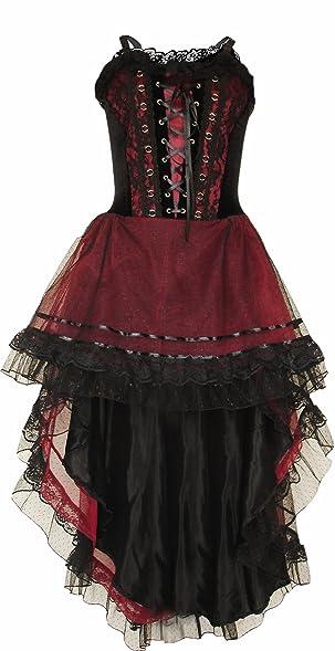 Gothic Prom Dress Black / Maroon Halloween Wedding Dress Extra Large Size