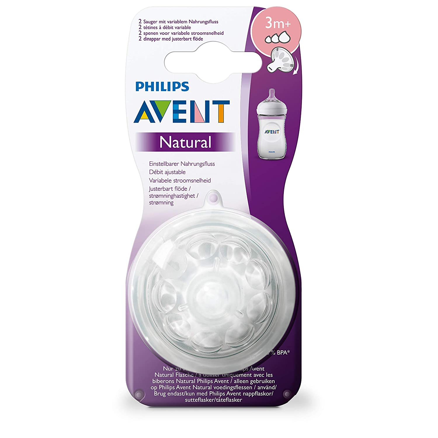 3 Mois+ Philips Avent SCF045//27 Lot de 2 t/étines Natural d/ébit variable