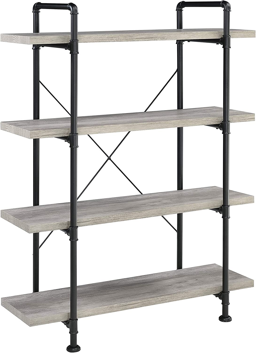 Coaster Home Furnishings Delray 4-Tier Bookcase Grey Driftwood and Black Open Shelves