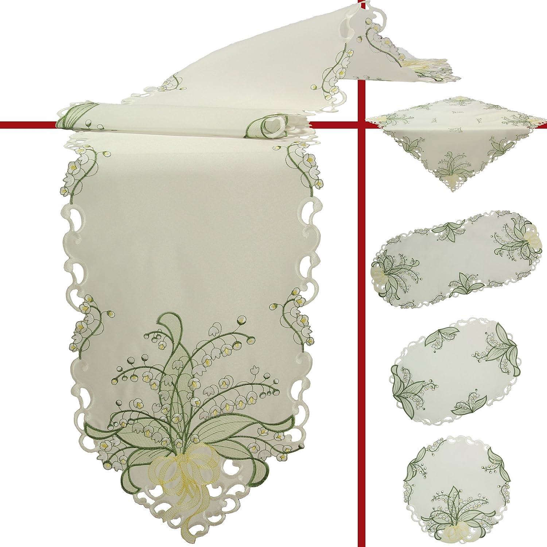 Cr/ème Quinnyshop Muguets Blancs Broderie Napperon 20 cm Rond Polyester