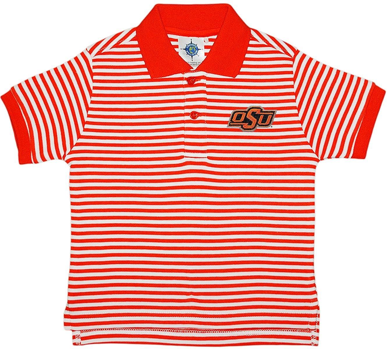 Creative Knitwear Oklahoma State University OSU Cowboys Striped Polo Shirt Orange/White 2T