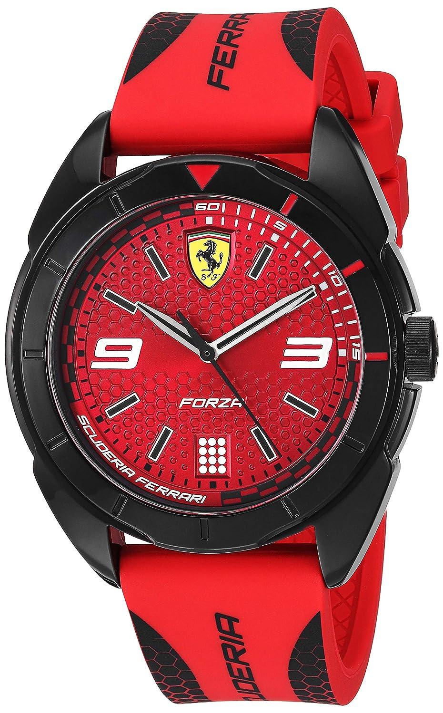 e19fef1b21e Amazon.com  Ferrari Men s 0830517 Forza Analog Display Quartz Red Watch   Watches