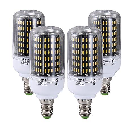 Liqoo® 4 x E14 12W Bombilla LED Lámpara PC Plástico Blanco Cálido 3000K AC 85