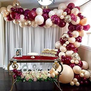 Oopat DIY Burgundy Peach Balloon Garland Arch Kit for Engagement Wedding Bridal Shower Boho Rustic Baby Shower Birthday Dinner Party Decoration