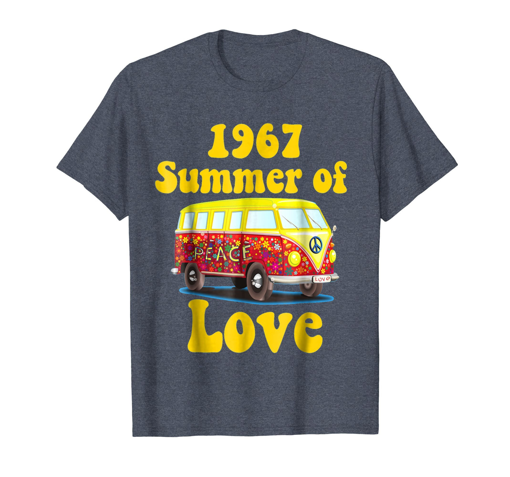 Mens 1967 Summer of Love Retro Tees Vintage Sixties Hippie Shirt 2XL Heather Blue