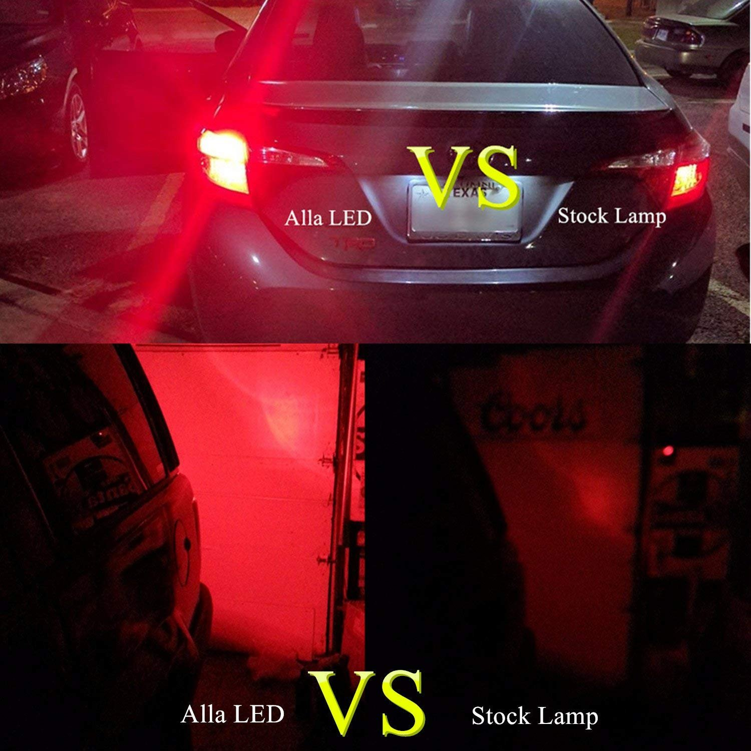 Alla Lighting 7440 7443 LED Strobe Brake Lights Bulbs Super Bright W21W T20  Wedge High Power 2835 SMD 12V Flashing Strobe Stop Lights Replacement for