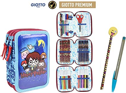 Plumier Estuche Artesanía Cerda Premium de cremallera triple 3 pisos HARRY POTTER - 43 piezas contenido Giotto + REGALO: Amazon.es: Oficina y papelería