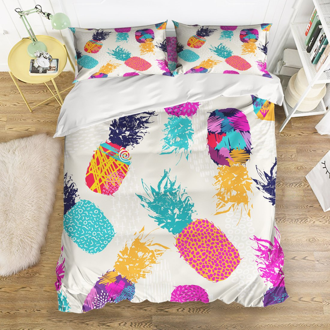 Libaoge 4 Piece Bed Sheets Set, Watercolor Tropical Fruit Pineapple Design, 1 Flat Sheet 1 Duvet Cover and 2 Pillow Cases