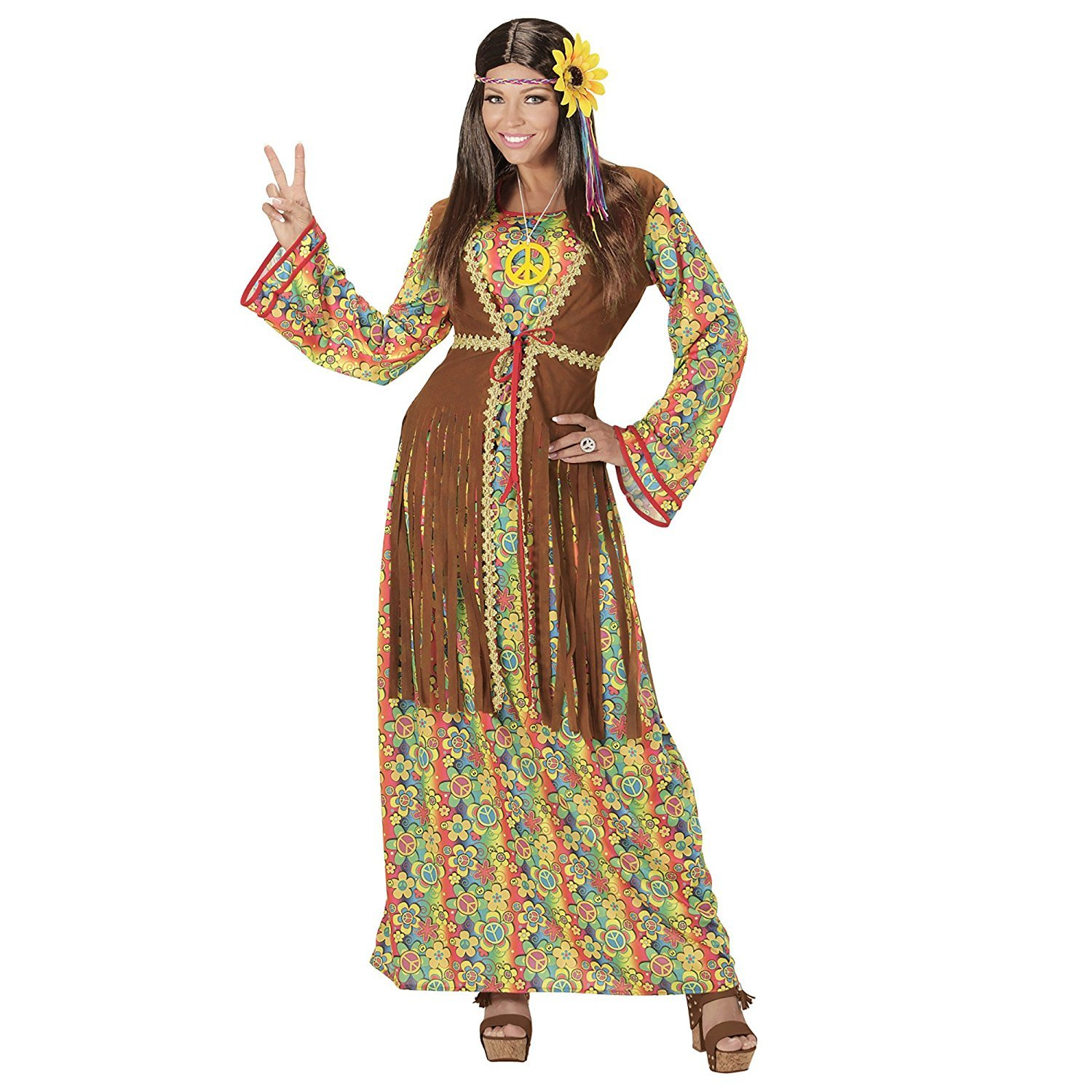 54116ae6680 Mega Jumble® Ladies 1960 s 70 s Hippie Hippy Peace Woodstock Adult Women  Long Dress with Vest + Peace Necklace Summer of Love Peace Hippie Groovy  Chick ...