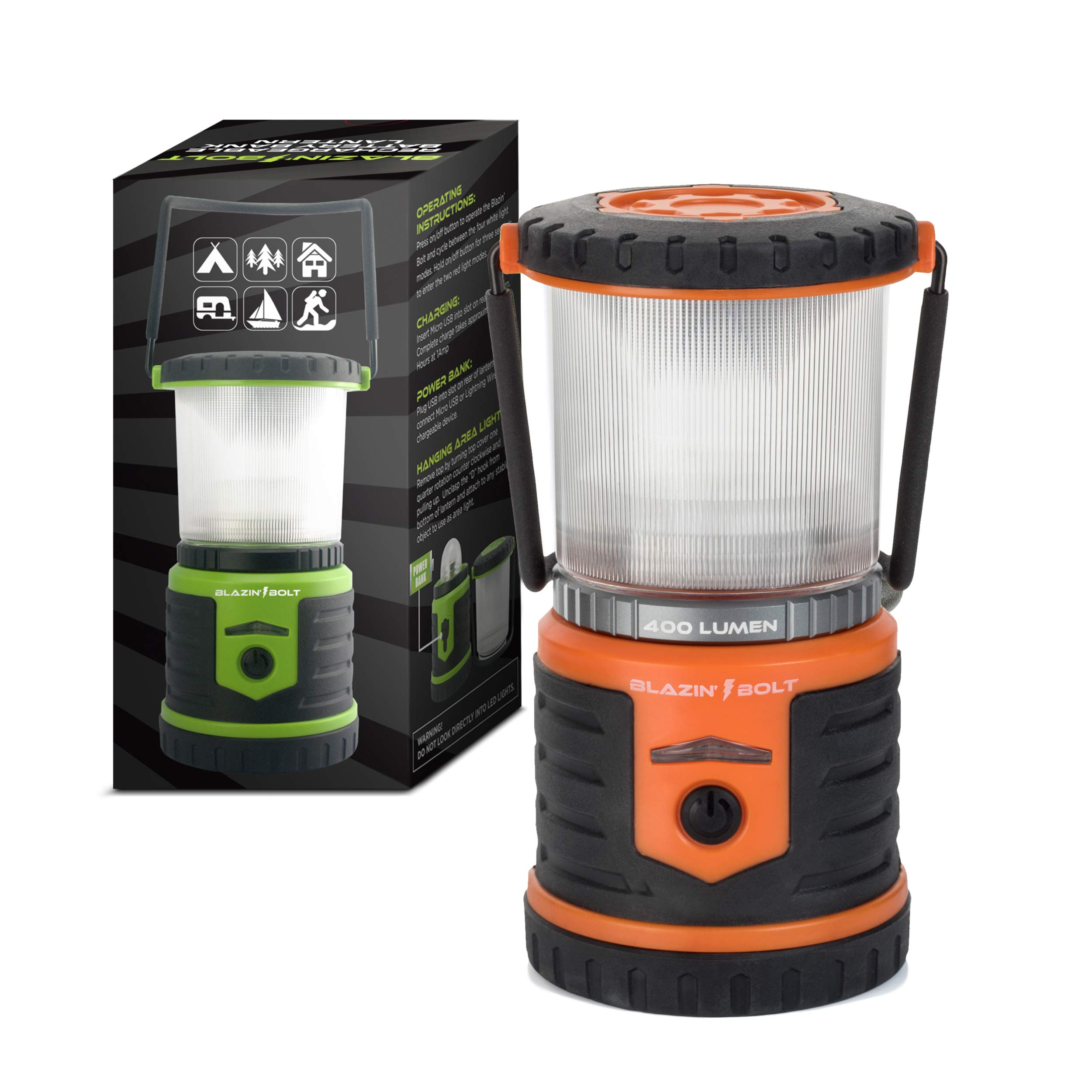 Brightest Rechargeable Lantern LED | Hurricane, Blackout, Storm | Power Bank Light | 400 Hour Runtime (Orange) by Blazin' Bison (Image #5)
