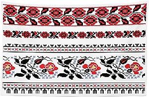 "Lunarable Ukrainian Tapestry, Russian Rushnik Floral Arrangement Eastern European Folklore Ornaments, Fabric Wall Hanging Decor for Bedroom Living Room Dorm, 45"" X 30"", Blue Black"