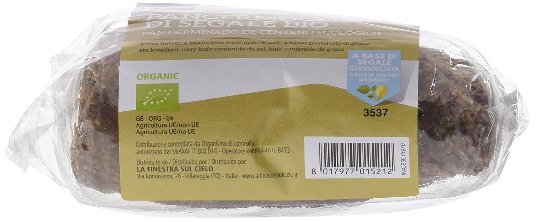 La Finestra Sul Cielo Pan Germinado de Centeno Cocido Al Horno - Paquete de 8 x 400 gr - Total: 3200 gr