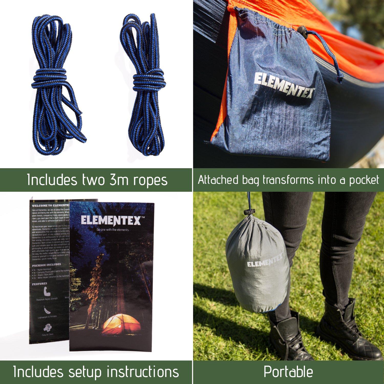 ELEMENTEX Portable Parachute Nylon Travel Camping Backpacking Hammock Choose Your Size//Color