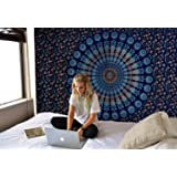 Blue Tapestry Wall Hanging Mandala Tapestries Indian Cotton Bedspread Picnic Bedsheet Blanket Wall Art Hippie Twin Hippie Bohemian Wall Decor Tapestry Christmas Gift