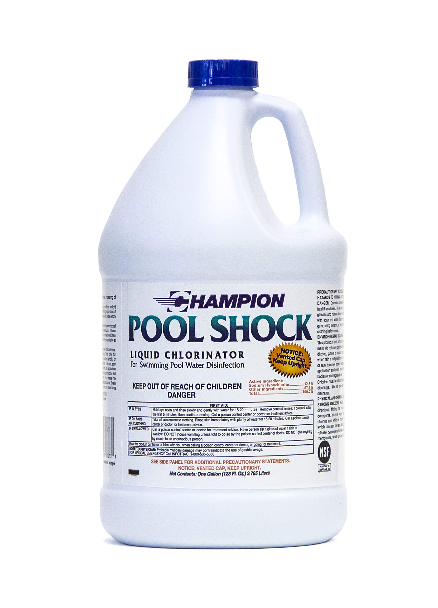 Liquid Chlorine Pool Shock - Commercial Grade 12.5% Concentrated Strength - 1 Gallon by Pool Shock Liquid Chlorinator