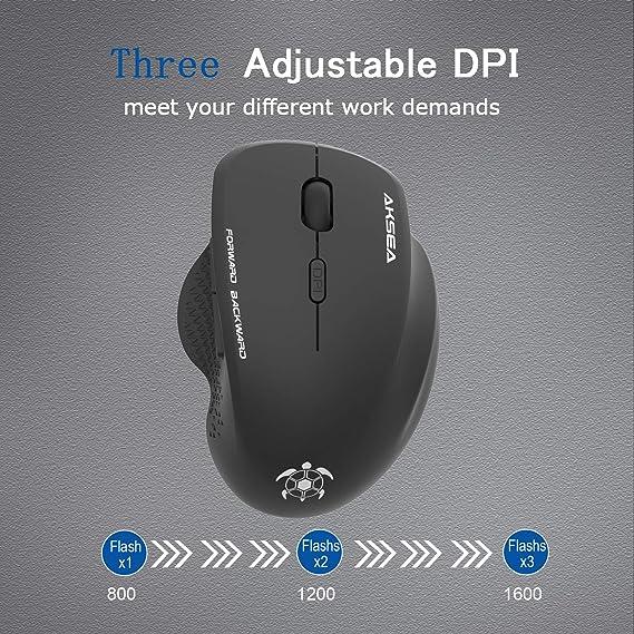 2.4GHz Wireless Rat/ón Gaming Optico 3DPI de Ajustable con Nano USB Receptor de Mouse Ergon/ómico para Windows 10//8//7//XP//Vista////PC//Mac(Rojo) AKSEA Rat/ón Inal/ámbrico