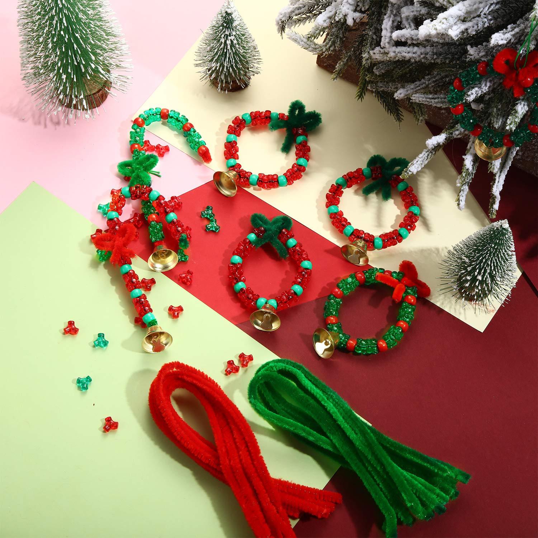 200 Cuentas de Pl/ástico 20 Campanas y Cuerdas de 10m para Guirnalda /Árboles de Navidad Suministros para Ni/ños 50 Tallos de Chenilla Kit de Adornos de Abalorios de Navidad 1000 Cuentas de Tri