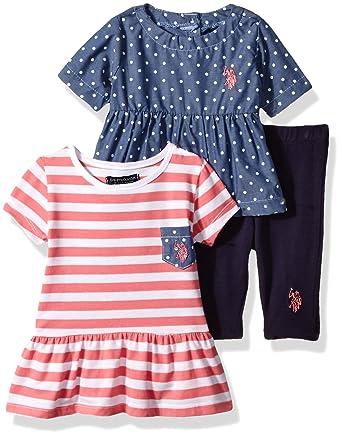 Amazon Com U S Polo Assn Baby Girls 3 Piece Legging Set Chambray