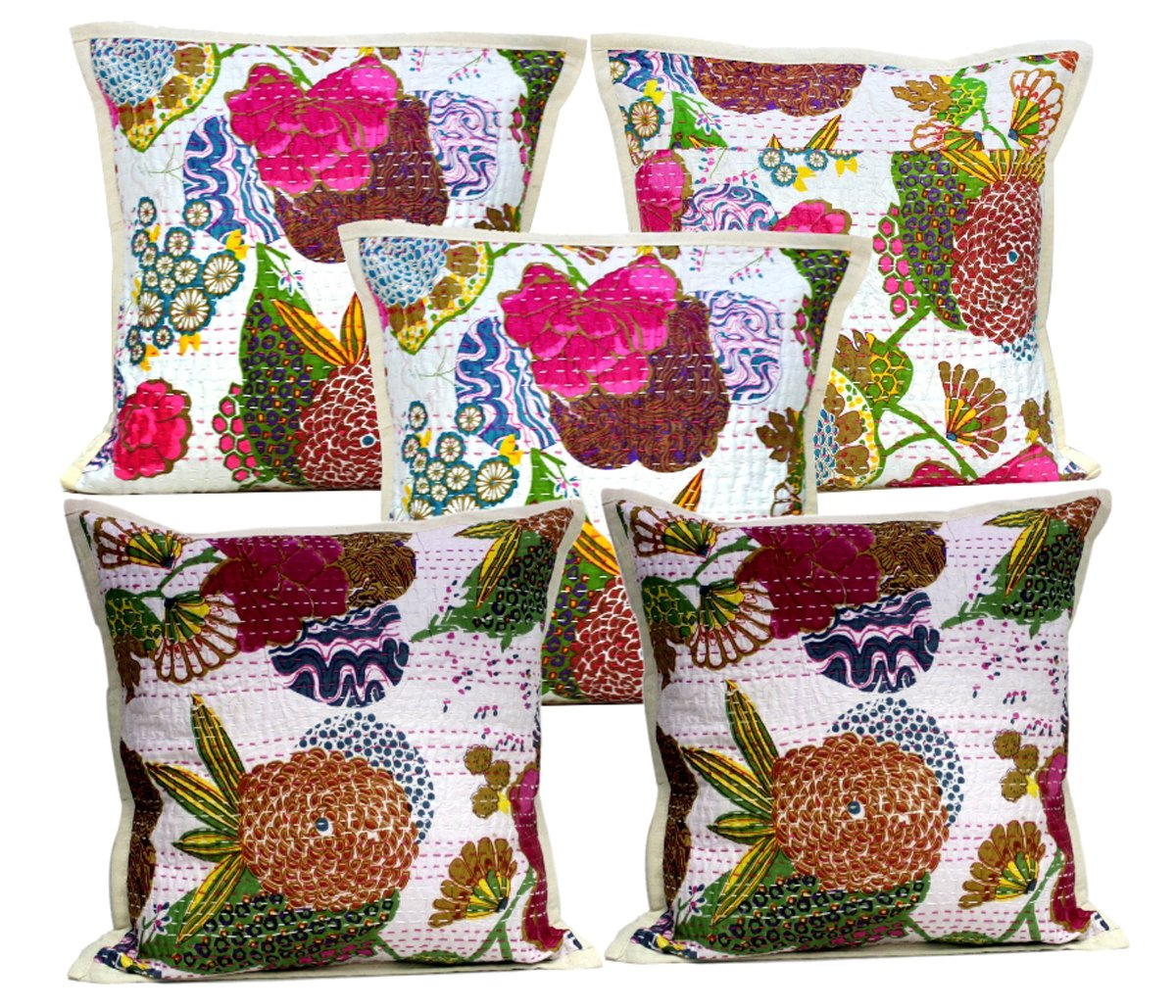 Amazon Com Amazing India 10 Indian Pillow Kantha Stitch Floral