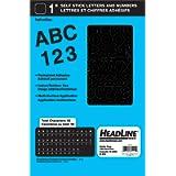 Headline Sign 31111 Stick on Letters Vinyl Lettering, Helvetica 1-Inch Black Caps/Numbers