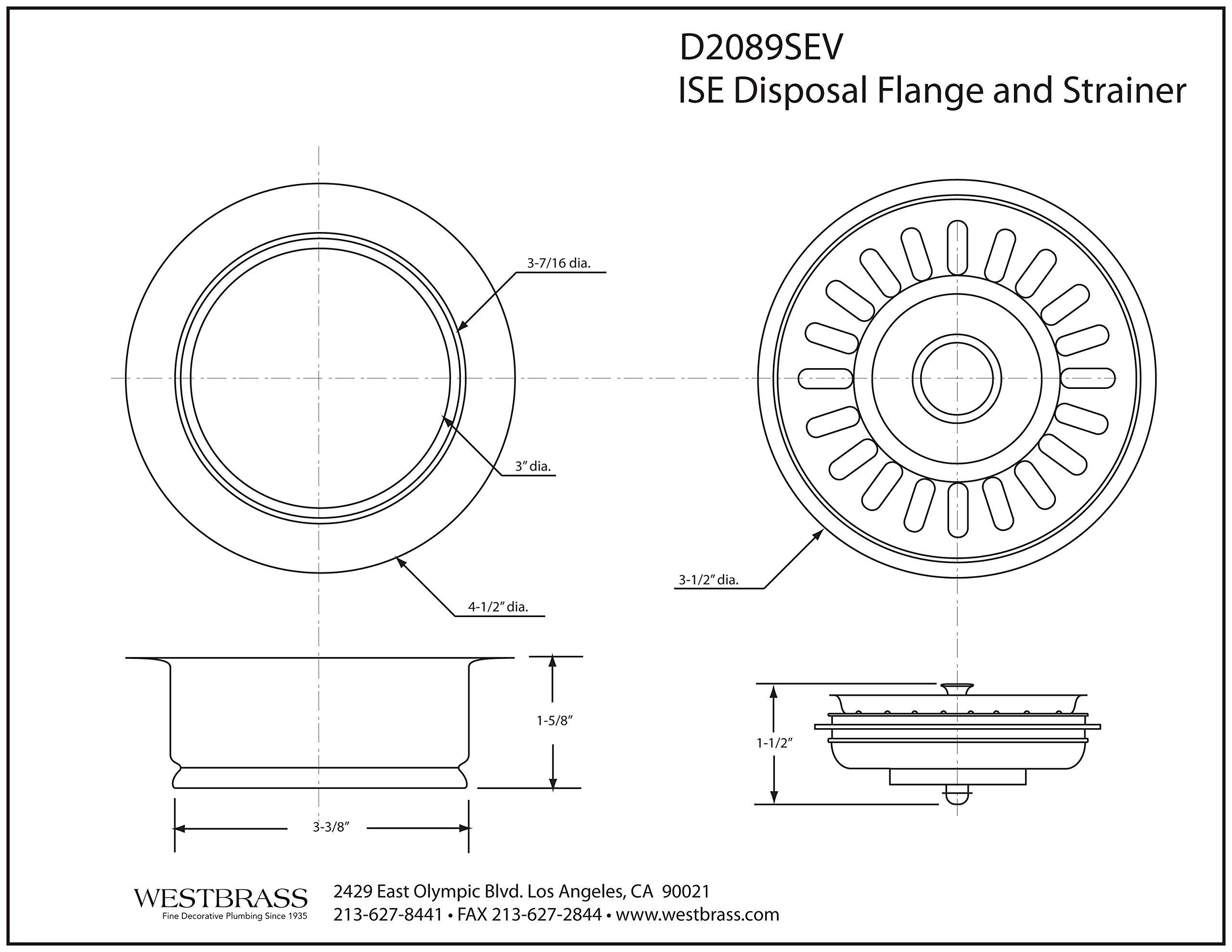 Westbrass InSinkErator Style Disposal Flange & Strainer Basket, Oil Rubbed Bronze, D2089SEV-12 by Westbrass (Image #2)