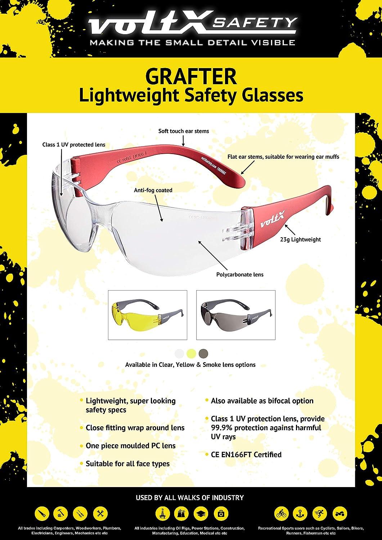 Certificado CE EN166F 3 x voltX /'GRAFTER/' Lentes de lectura de seguridad industrial bifocales Gafas de Ciclismo Colores Mixtos: 1 x transparente 1 x ahumado 1 x amarillo dioptr/ía +2.0