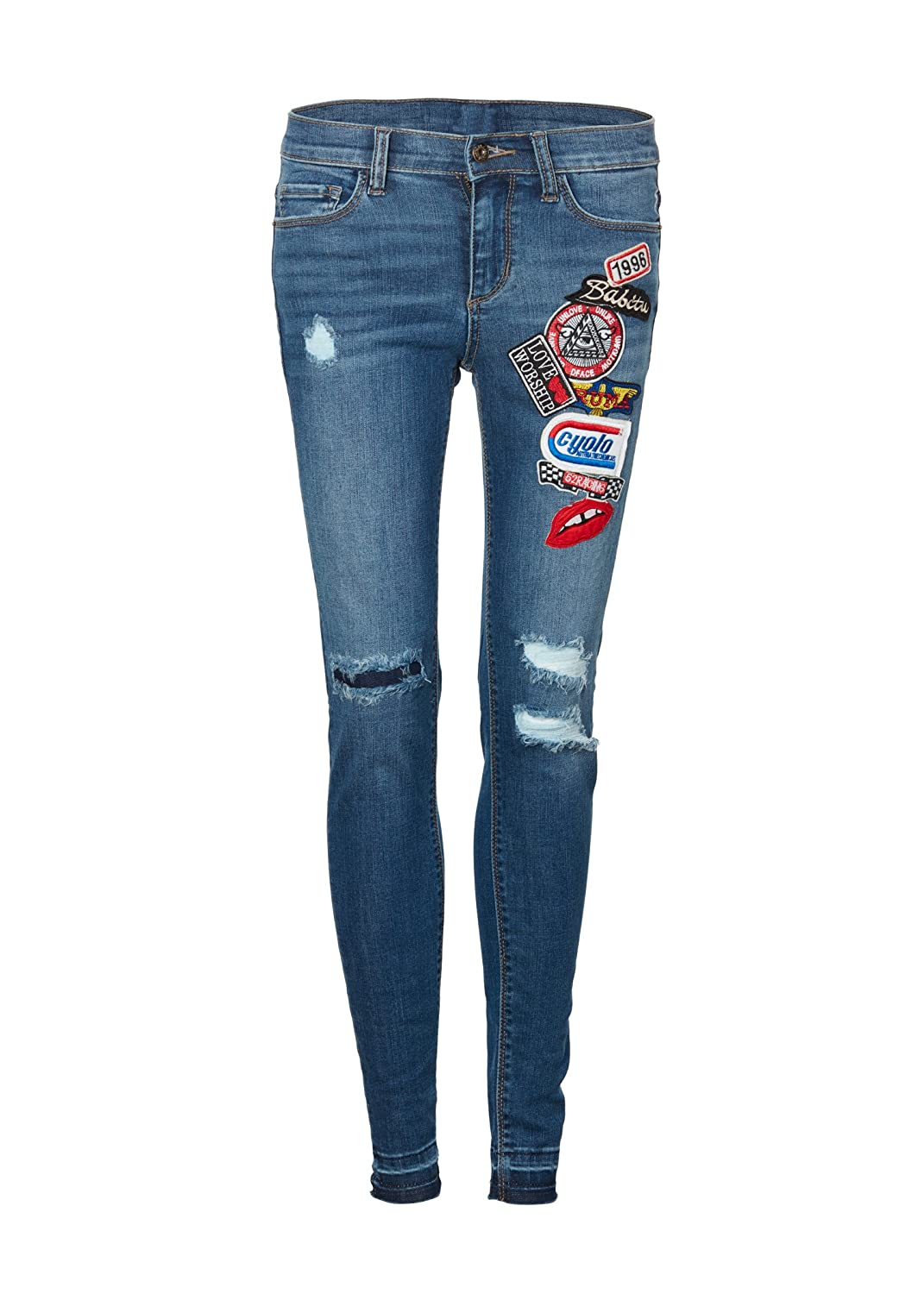 Womens Skinny Fit Denim Jeans with Patches