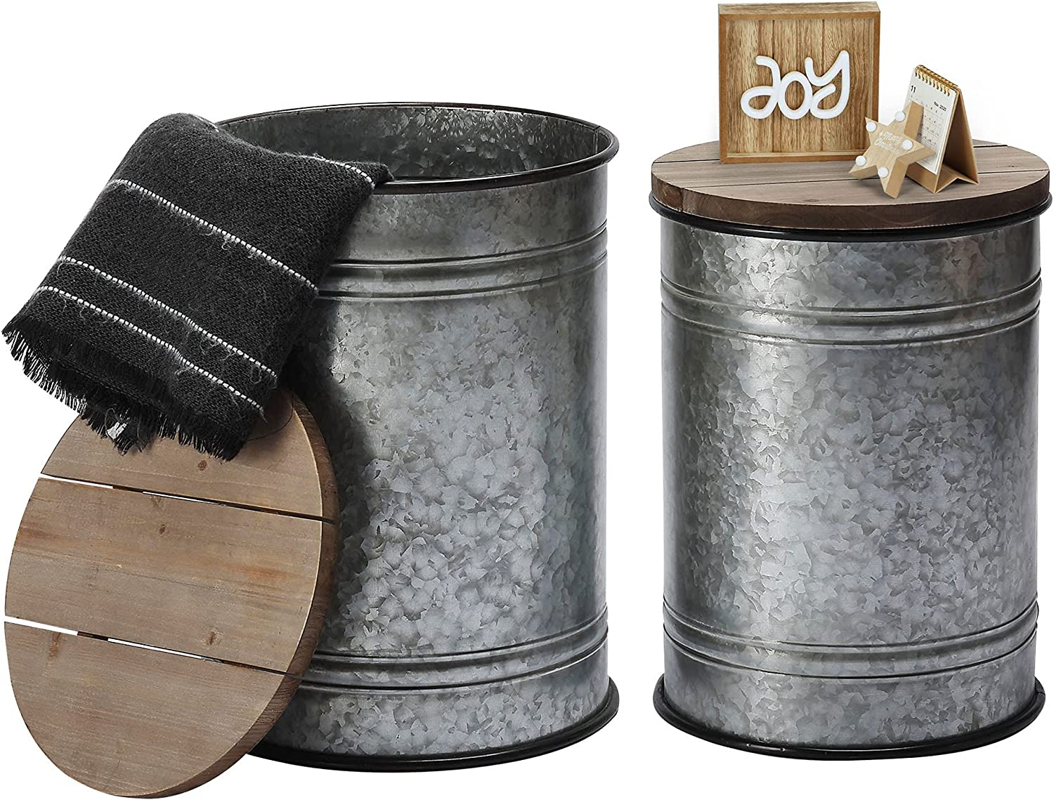 Rustic Storage Ottoman Seat Stool, Farmhouse Accent Side Table, Antique Galvanized Metal End Table Box Bin with Round Wooden Lid Set of 2 (Galvanized)
