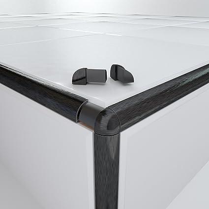 10 X Light Brushed Black Round/Quadrant Tile Trim Vroma