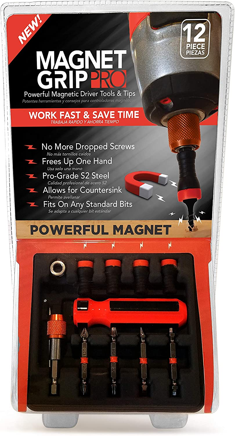 Allows Countersink| 12 Pieces Magnetic Collar Screw holder and Bit holder Magnet Grip Pro Magnetic Drill Bit Set Fits ANY Standard Bit No Wobbling or Falling Screws Magnetic Screwdriver Bits