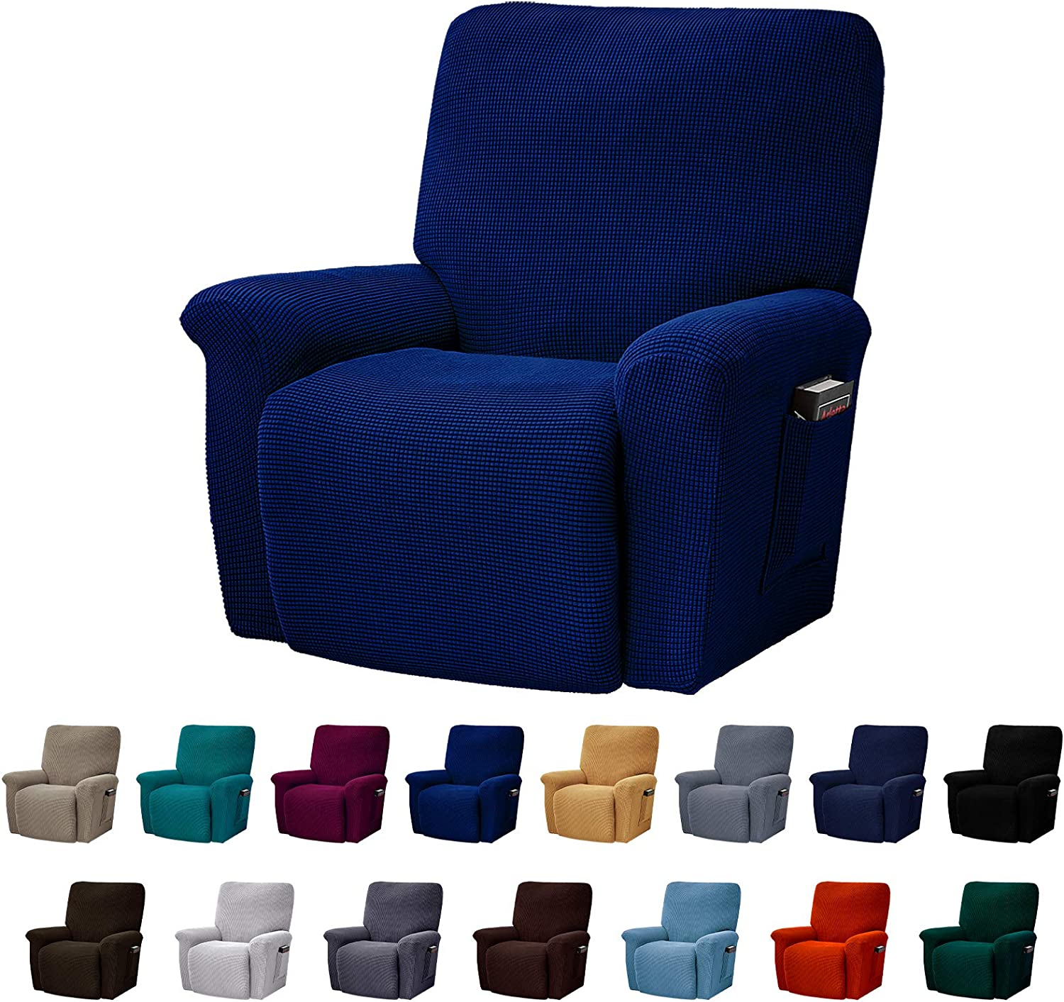 AlGaiety Stretch Recliner Slipcover Sofa Cover 4 Separate Pieces/1 Set Spandex Jacquard Fabric Furniture Protector Couch Cover with Elastic Bottom for Living Room(Recliner,Classic Blue)