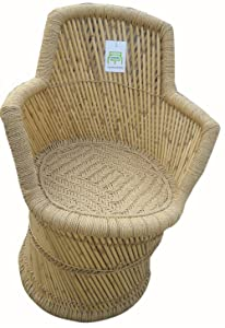 Ecowoodies Ajuga Eco Friendly Handicraft Bamboo Cane Indoor and Outdoor Patio Chair for Garden and Balcony
