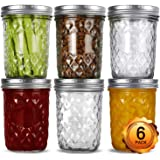 Wide Mouth Mason Jars 16oz, VERONES 6 Pack 16 oz Wide Mouth Mason Jars with Lids and Bands, Ideal for Jam, Honey, Wedding Fav