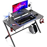 "MOTPK Gaming Desk 40"" with Monitor Shelf Gaming Table Home Computer Desk with Cup Holder and Headphone Hook Gamer Workstation"