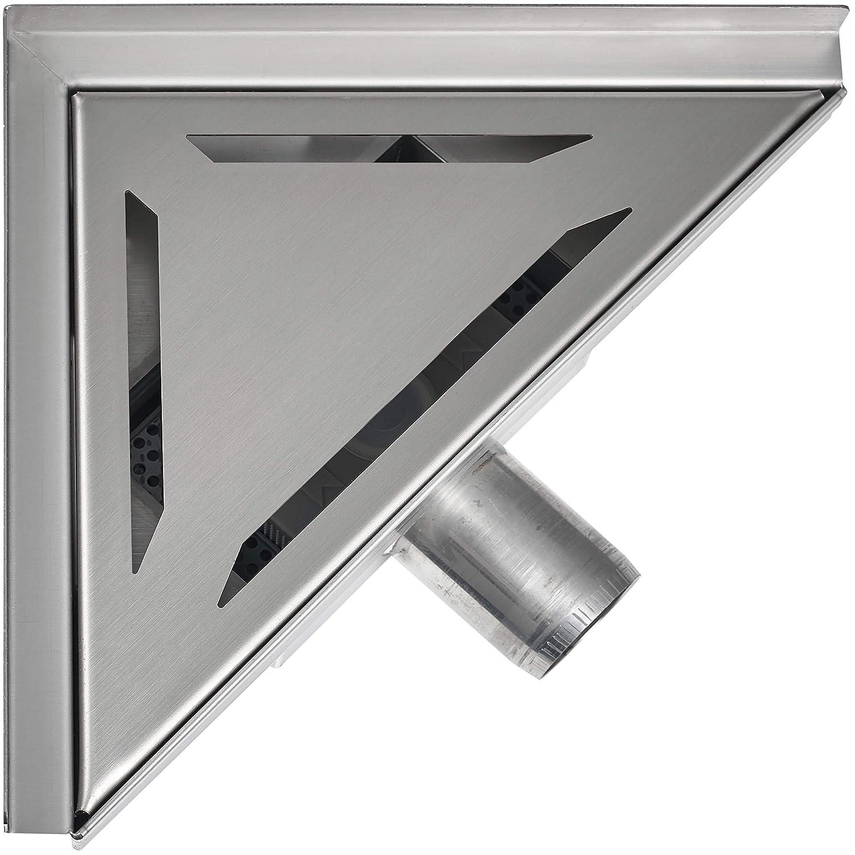 25 x 25 cm VILSTEIN VS-DB02-25S Duschrinne mit Siphon Boden- und Duschablauf, Dreieckig Schlitze 25 x 25 cm, Silber,